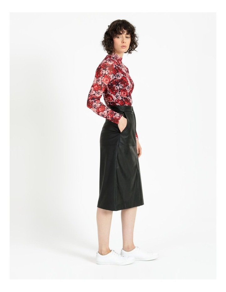 A-Line Faux Leather Midi Skirt image 2