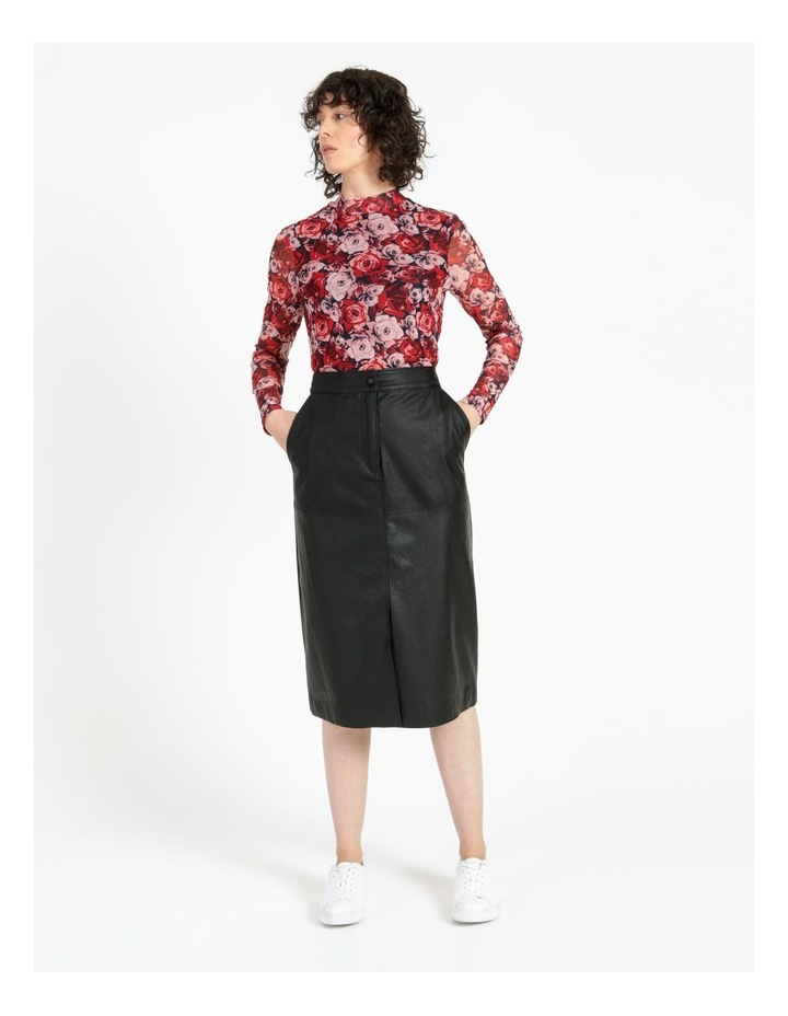 A-Line Faux Leather Midi Skirt image 3