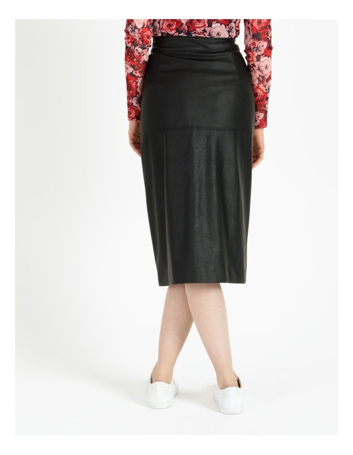 A-Line Faux Leather Midi Skirt image 4