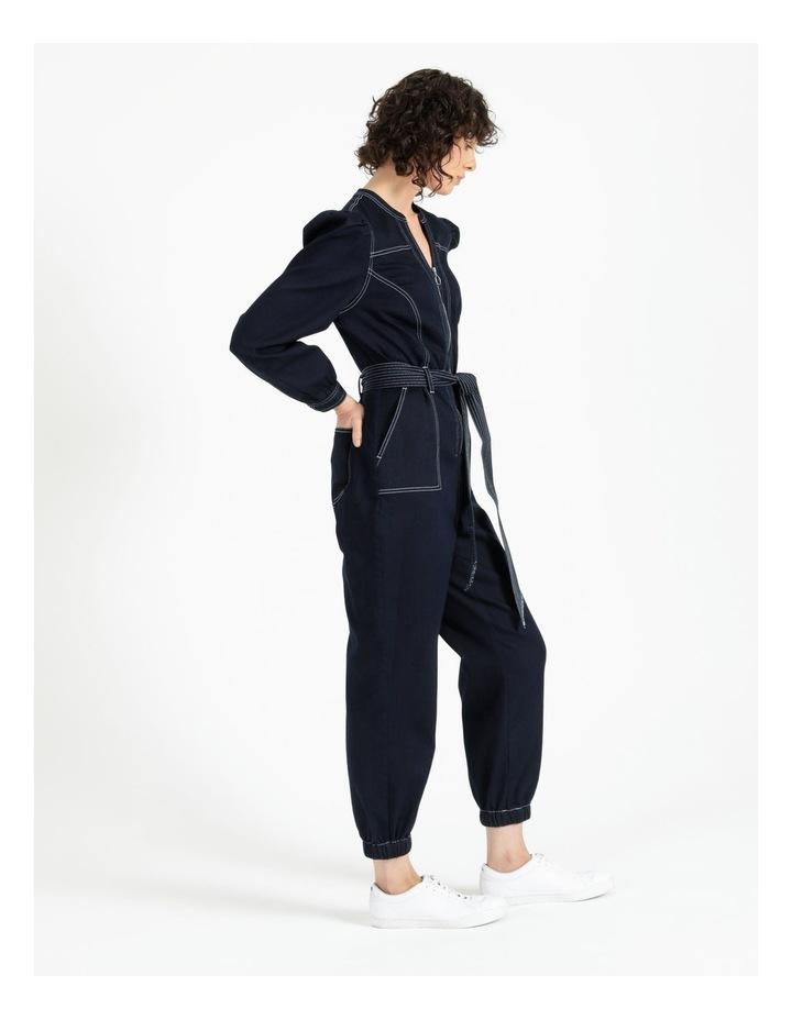 Puff Sleeve Denim Jumpsuit image 3
