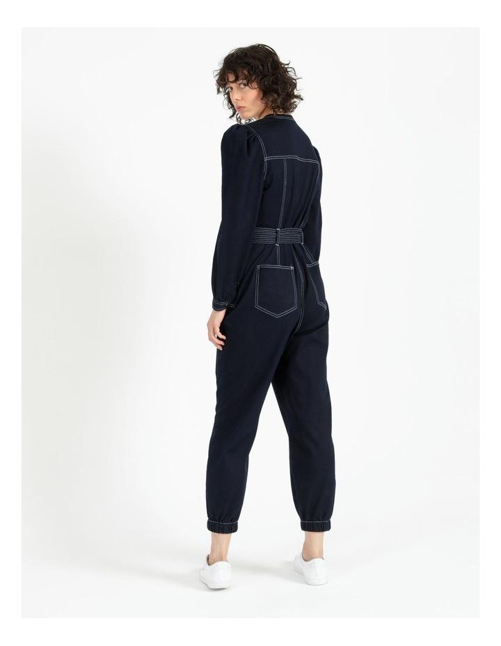 Puff Sleeve Denim Jumpsuit image 4
