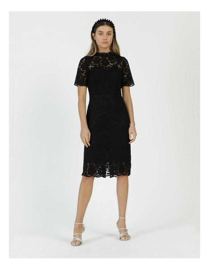 Pencil Lace Midi Dress Black image 1