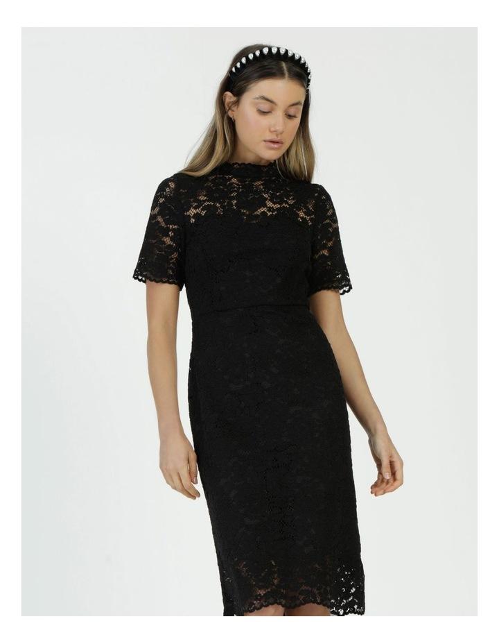 Pencil Lace Midi Dress Black image 2