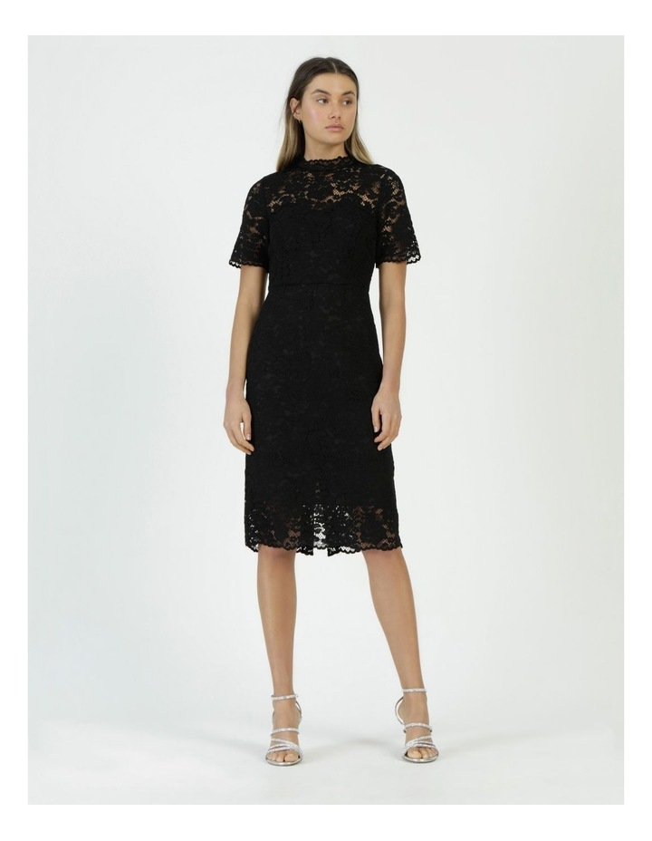 Pencil Lace Midi Dress Black image 3