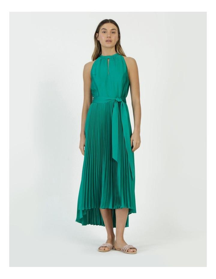 Satin Halter Pleated Midi Dress image 1