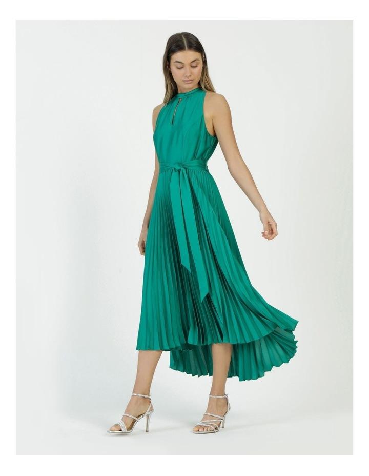 Satin Halter Pleated Midi Dress image 2