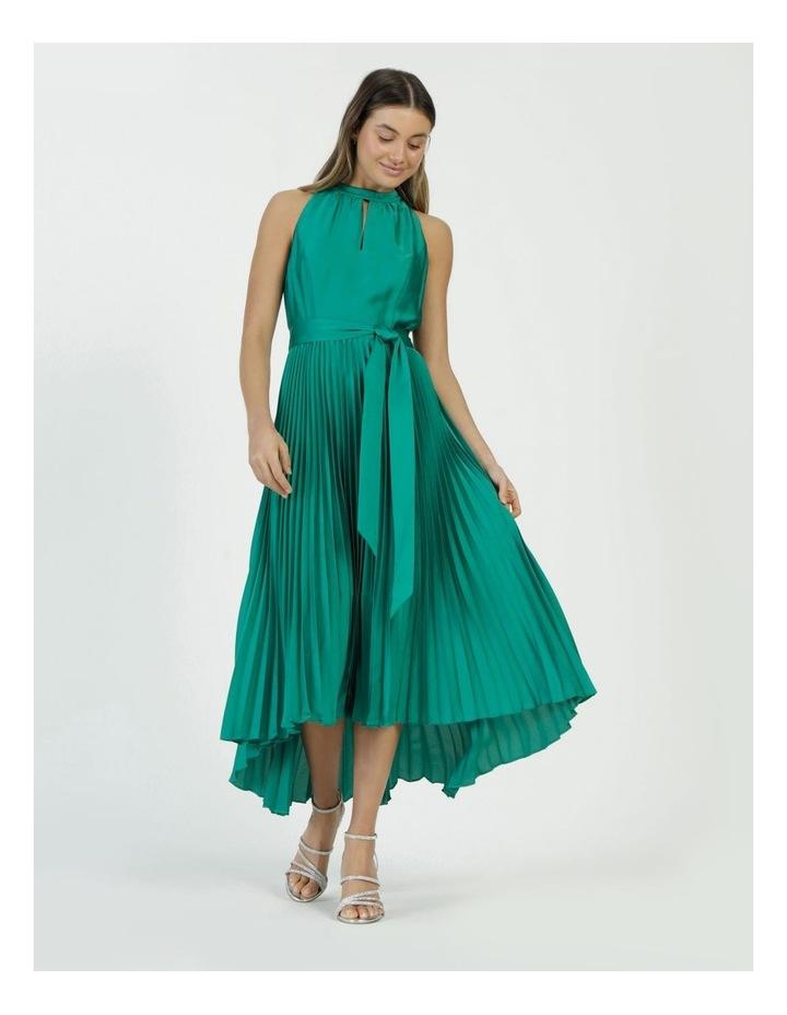 Satin Halter Pleated Midi Dress image 4