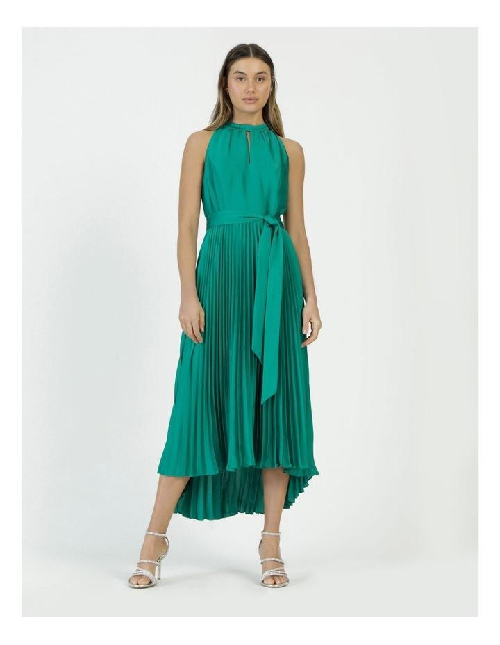 Satin Halter Pleated Midi Dress image 5