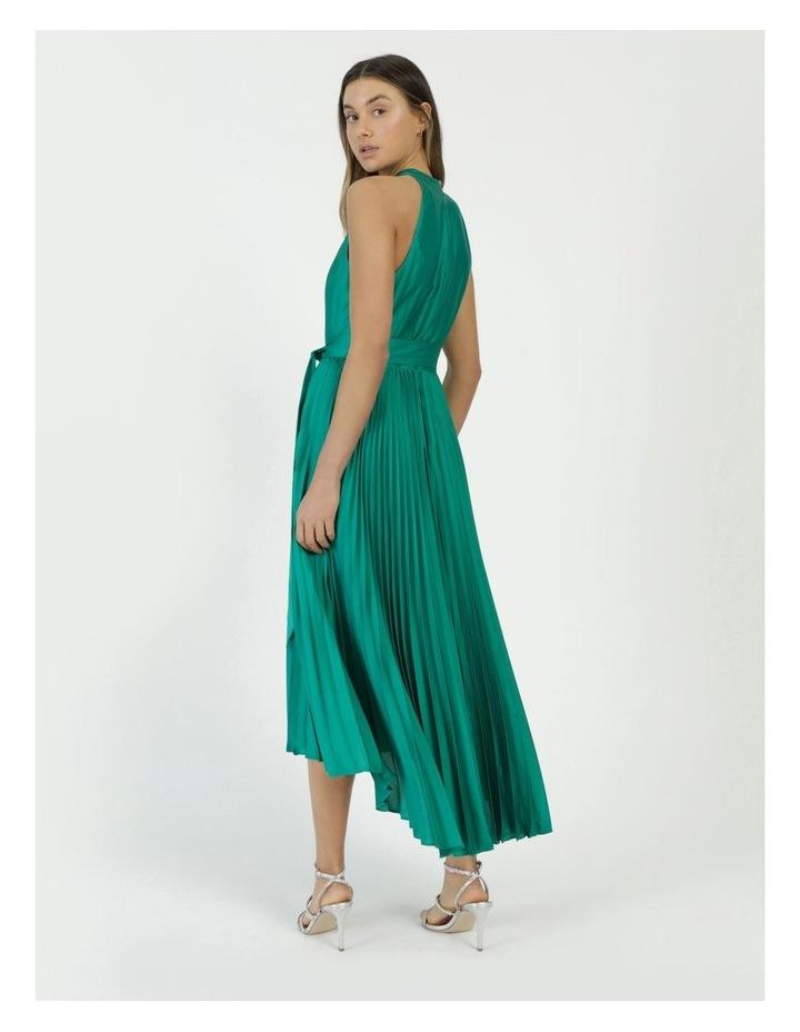 Satin Halter Pleated Midi Dress image 6