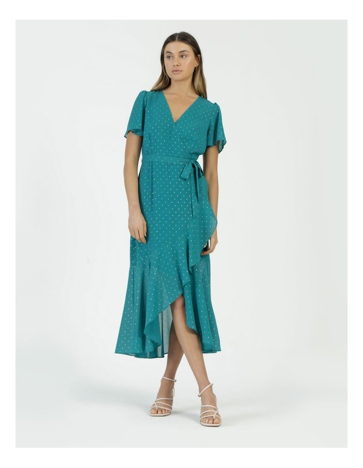 Metallic Spot Print Wrap Midi Dress Teal image 1