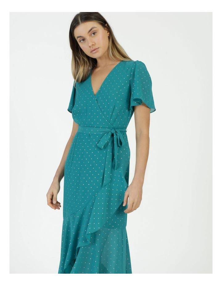 Metallic Spot Print Wrap Midi Dress Teal image 2