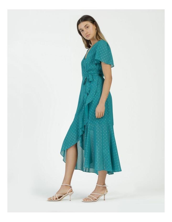 Metallic Spot Print Wrap Midi Dress Teal image 3