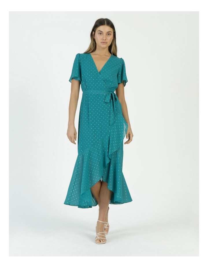 Metallic Spot Print Wrap Midi Dress Teal image 4