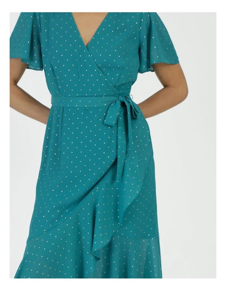 Metallic Spot Print Wrap Midi Dress Teal image 5