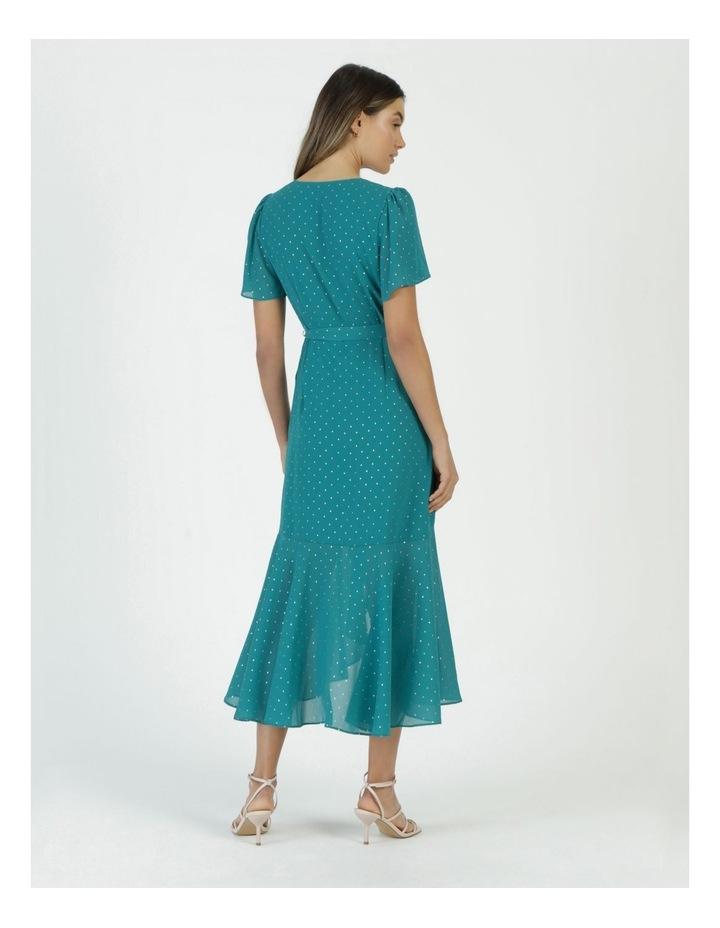 Metallic Spot Print Wrap Midi Dress Teal image 6