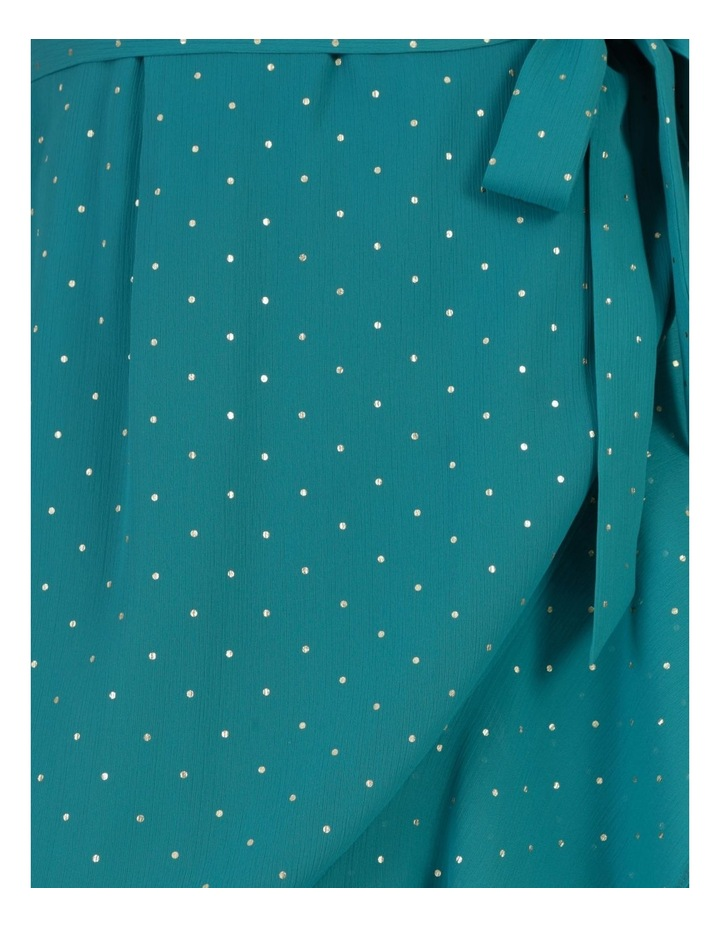 Metallic Spot Print Wrap Midi Dress Teal image 7