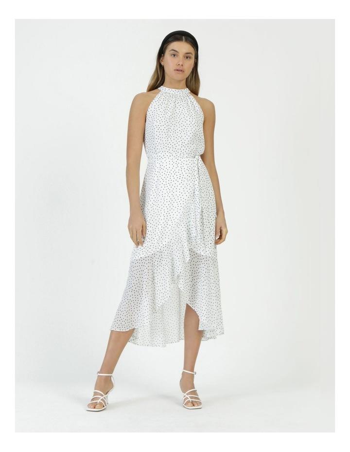Halter Neck Ruffle Midi Dress White/Black Spot image 1