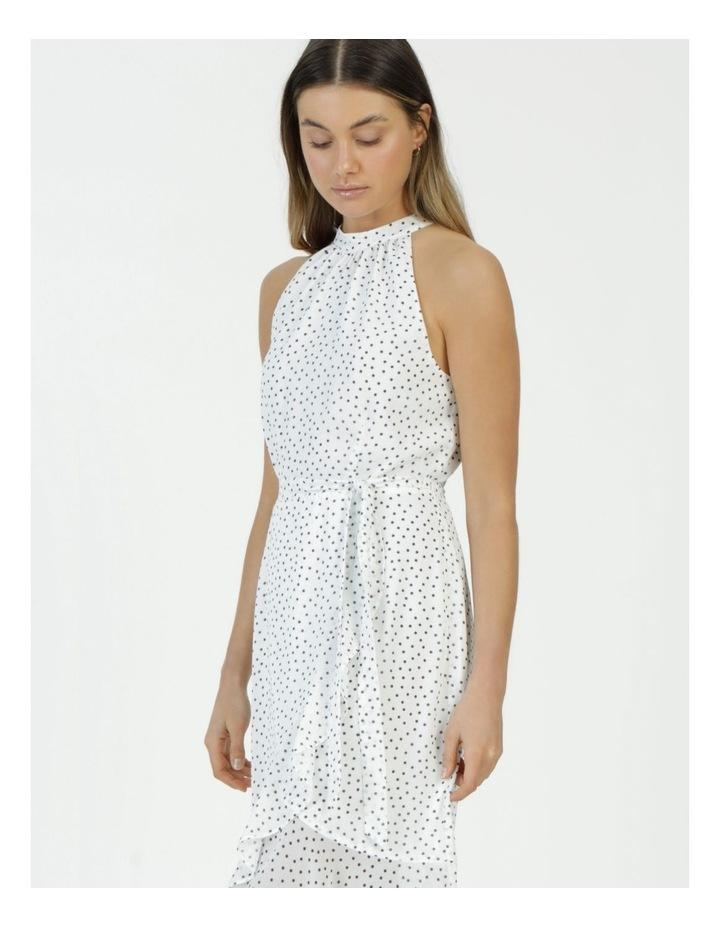 Halter Neck Ruffle Midi Dress White/Black Spot image 2