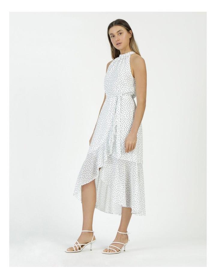 Halter Neck Ruffle Midi Dress White/Black Spot image 3