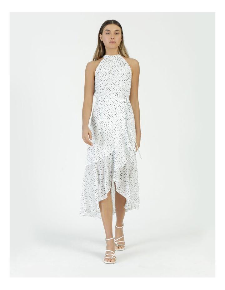 Halter Neck Ruffle Midi Dress White/Black Spot image 4