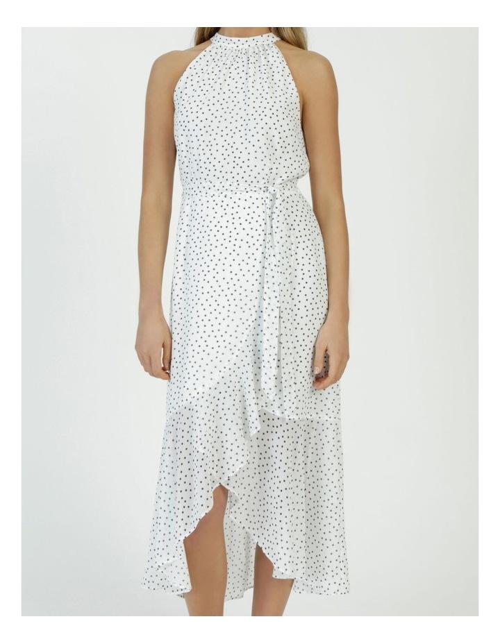 Halter Neck Ruffle Midi Dress White/Black Spot image 5