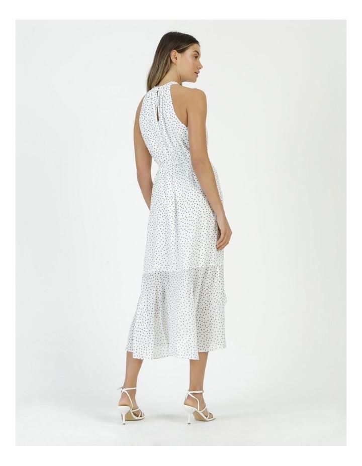Halter Neck Ruffle Midi Dress White/Black Spot image 6