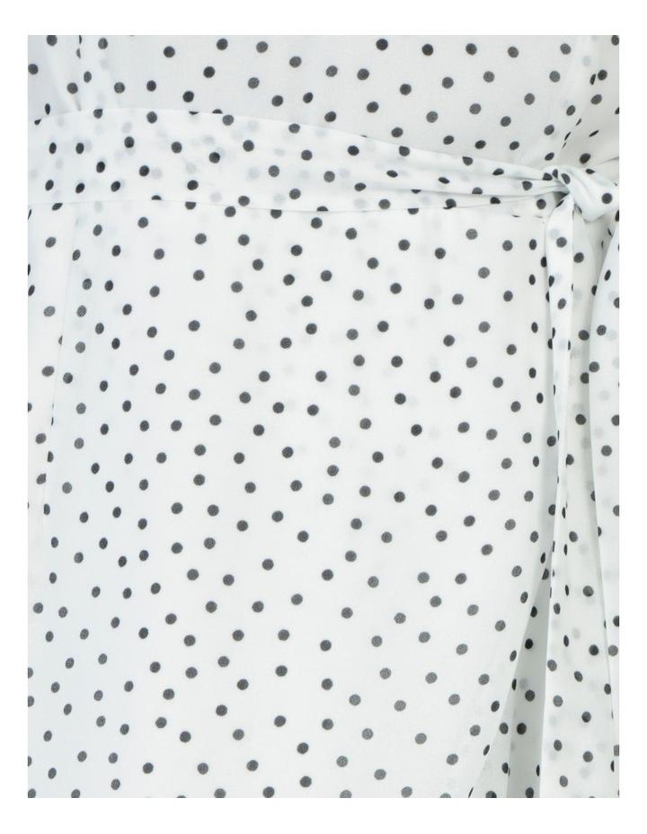 Halter Neck Ruffle Midi Dress White/Black Spot image 7