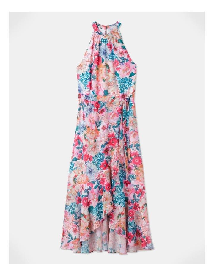 Halter Neck Ruffle Midi Dress Bright Floral image 1