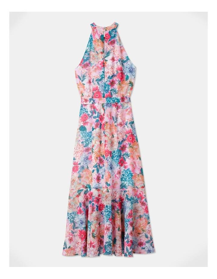 Halter Neck Ruffle Midi Dress Bright Floral image 3