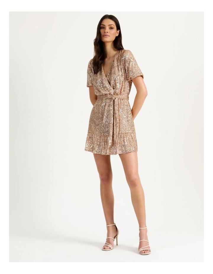 Sequin Mini Dress Rose Gold image 2