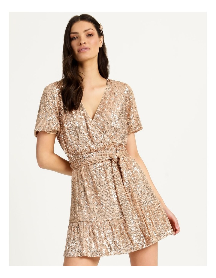 Sequin Mini Dress Rose Gold image 3