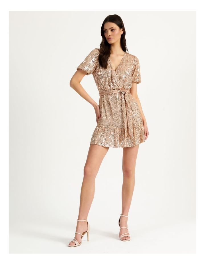 Sequin Mini Dress Rose Gold image 4