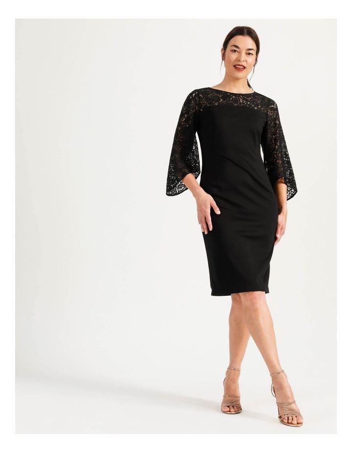 Ponte Lace Midi Dress Black image 1
