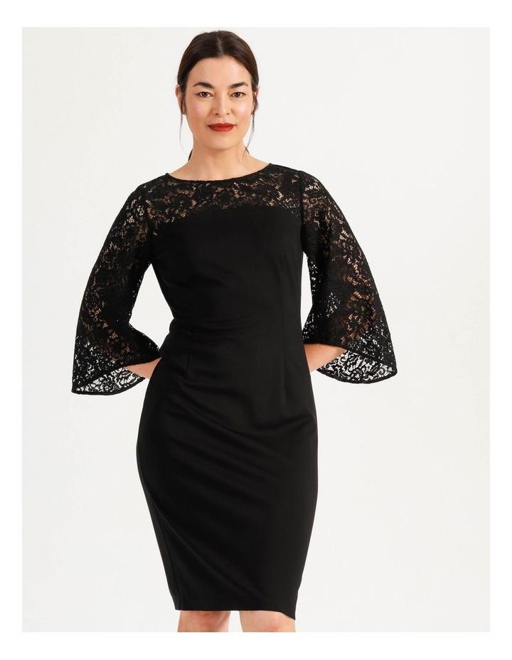 Ponte Lace Midi Dress Black image 2