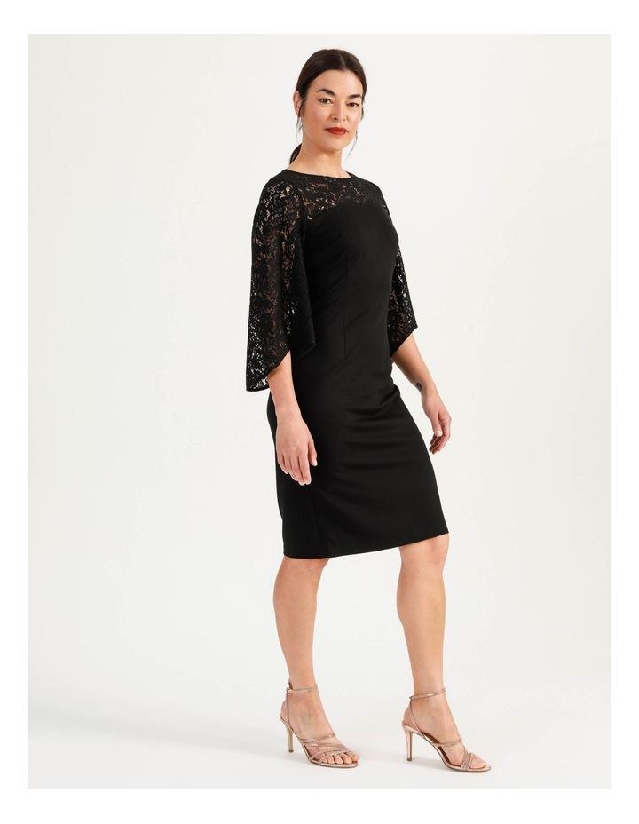 Ponte Lace Midi Dress Black image 3