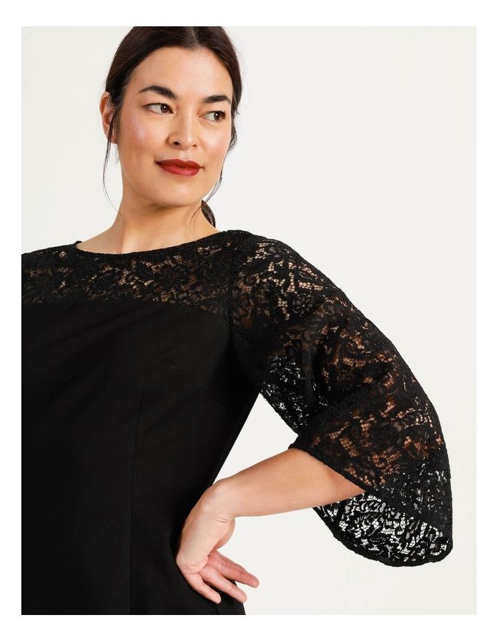 Ponte Lace Midi Dress Black image 4