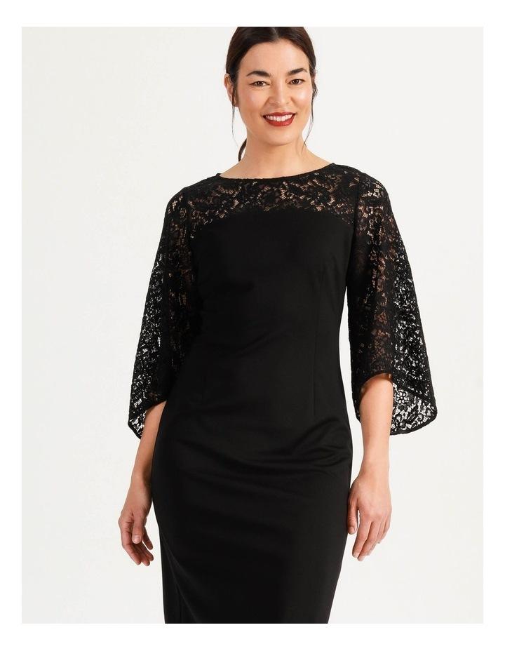 Ponte Lace Midi Dress Black image 5