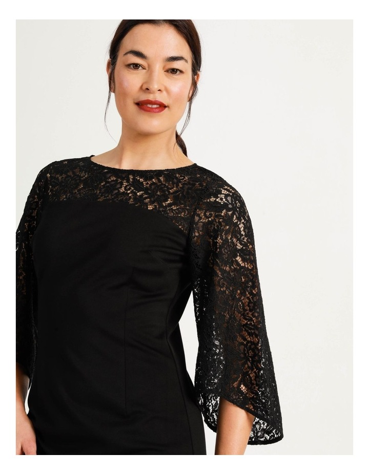 Ponte Lace Midi Dress Black image 7