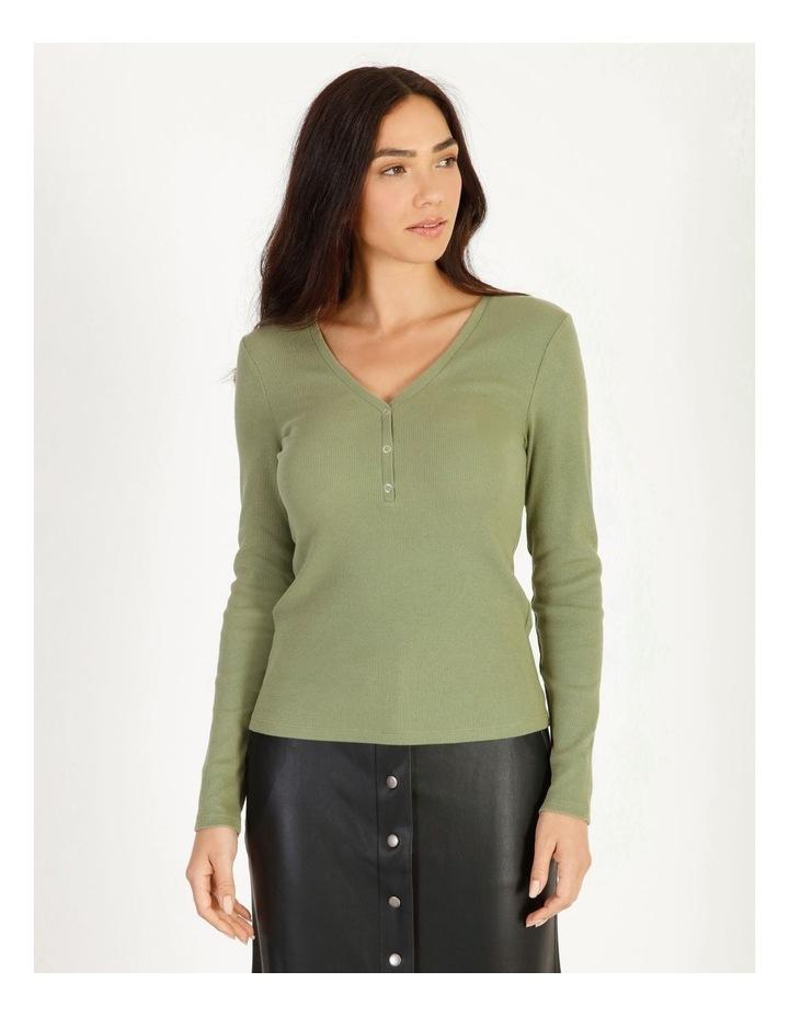 Harriet Long Sleeve V-Neck Button Top image 1