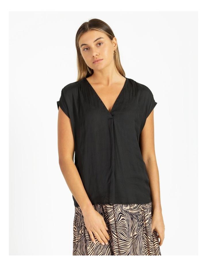 Flannery V-Neck Cap Sleeve Top Black image 1