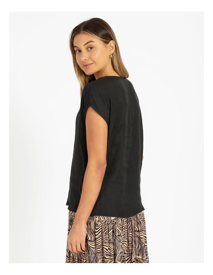 Flannery V-Neck Cap Sleeve Top Black image 2