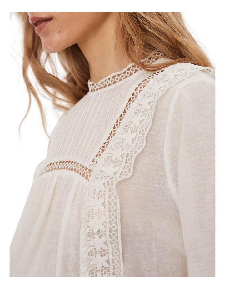 Etty Embroidered Long Sleeve Top White image 5