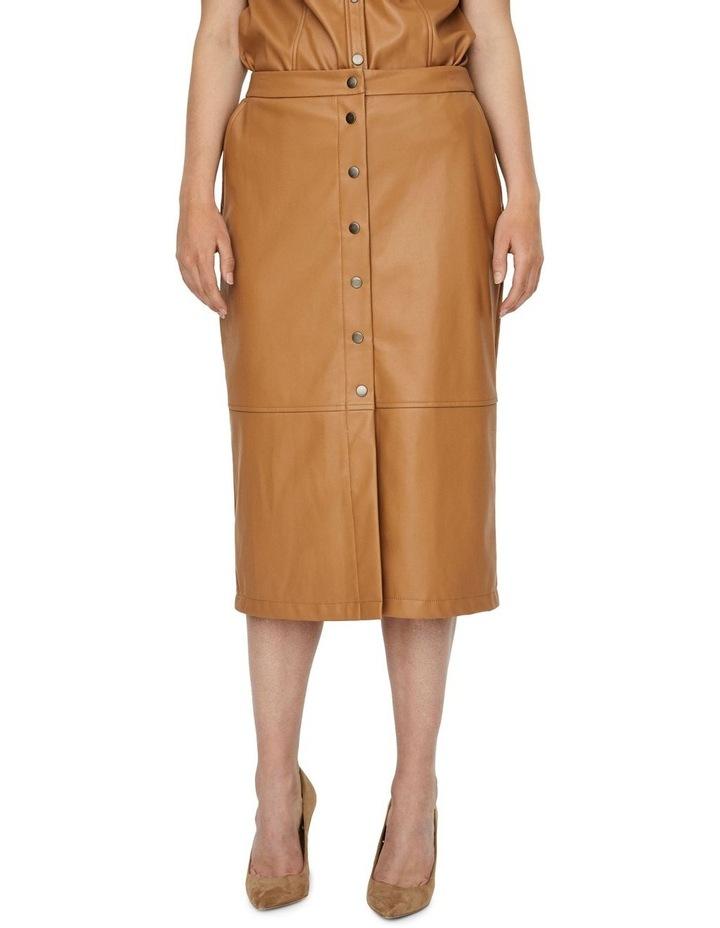 Solanan High Waisted Coated Calf Skirt image 1