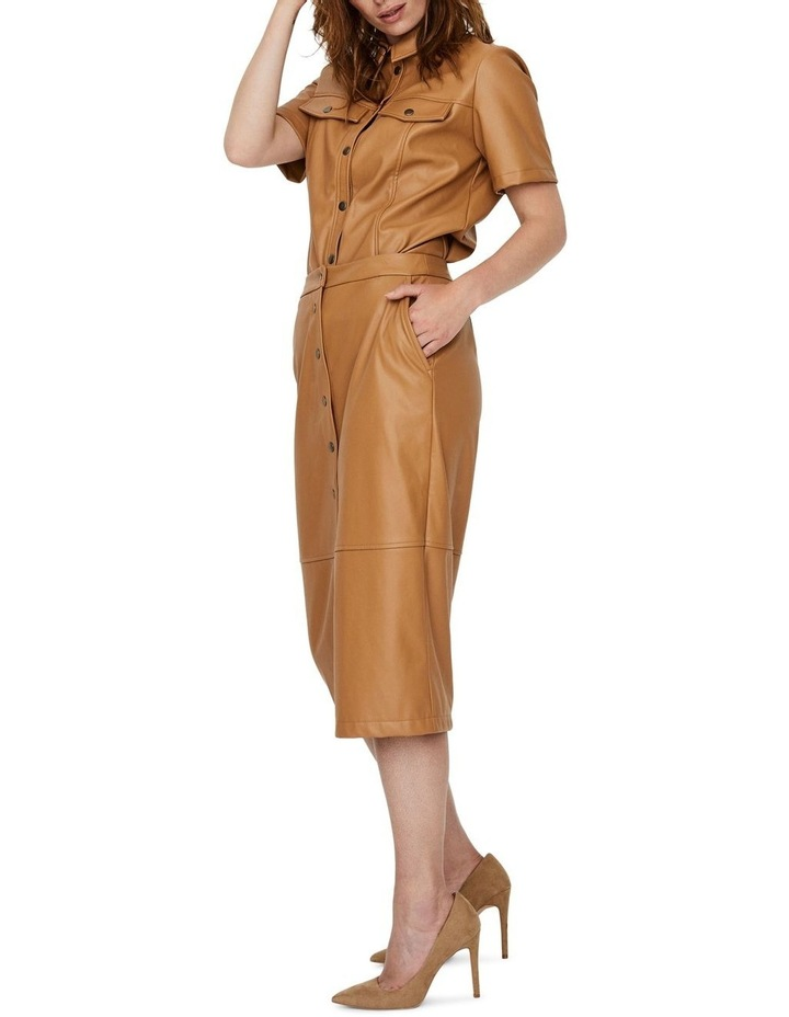 Solanan High Waisted Coated Calf Skirt image 3