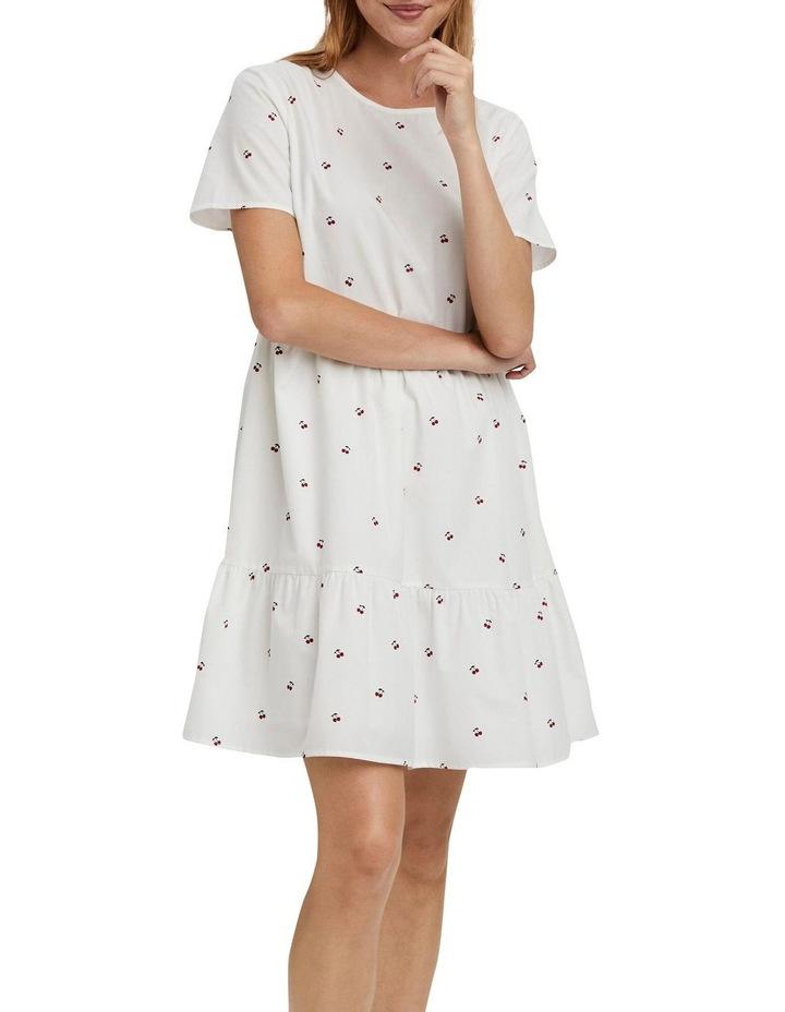 Cherry O-Neck Dress Bright White Cherry image 1