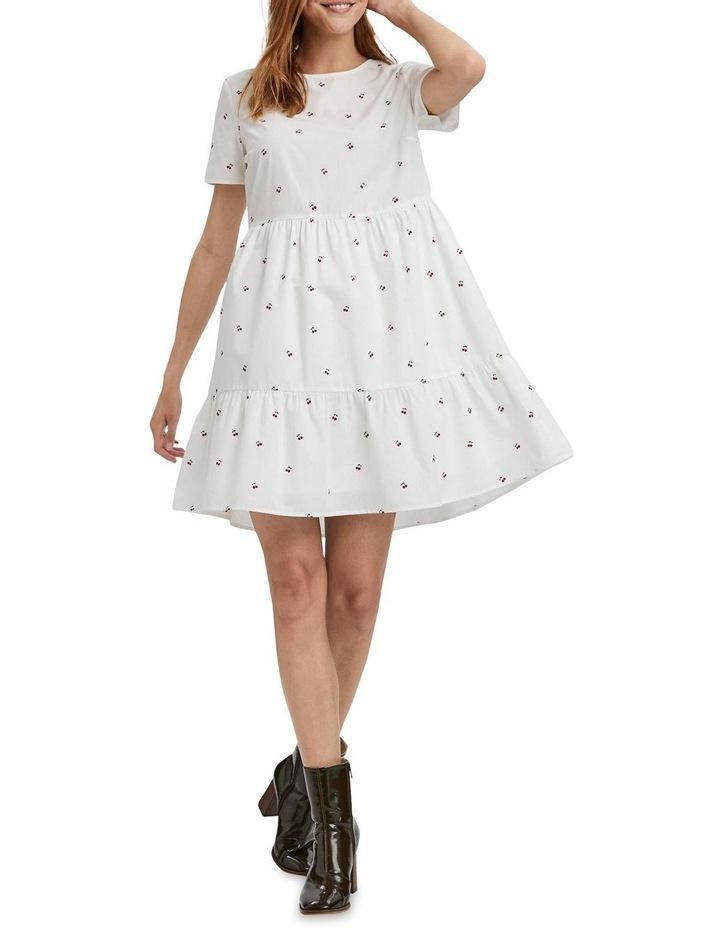 Cherry O-Neck Dress Bright White Cherry image 3