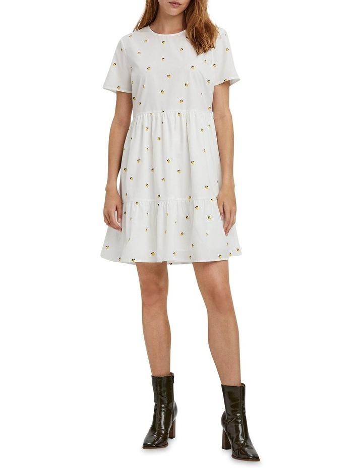 Cherry O-Neck Dress Bright White Lemon image 3