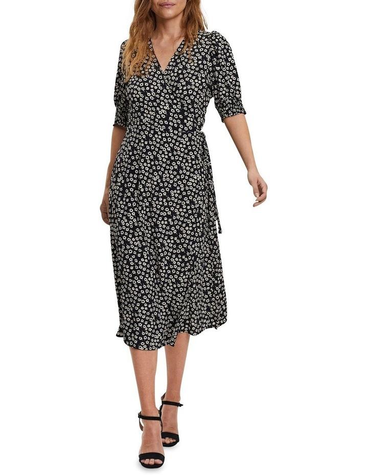 Elliot Short Sleeve Calf Wrap Dress Black image 3