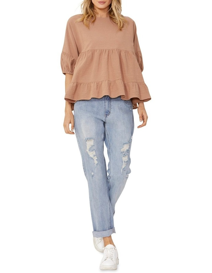 Elsie Cotton Blouse with Puff Sleeve Tan image 1