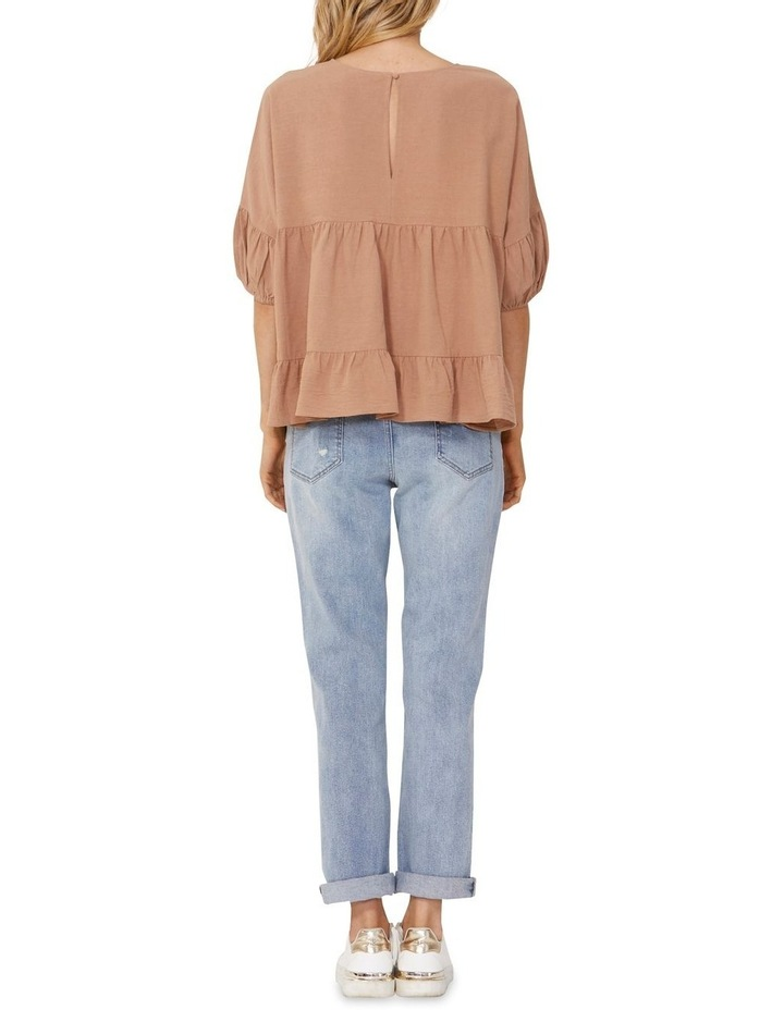 Elsie Cotton Blouse with Puff Sleeve Tan image 2